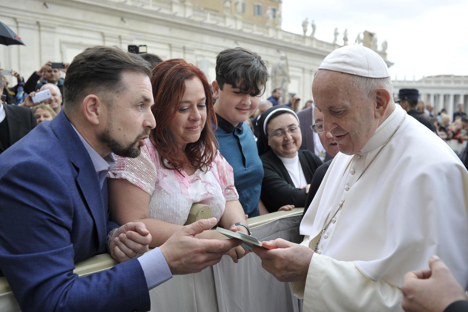 Jerome's book in the hands of His Holiness Pope Francis